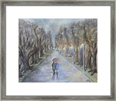 A Wet Evening Stroll Framed Print