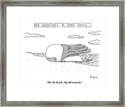 A Whale In A Cape Is Laying On A Beach Framed Print by Zachary Kanin