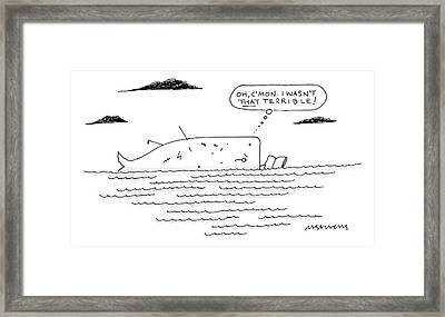 A Whale Reads A Book While Thinking Oh Framed Print by Mick Stevens