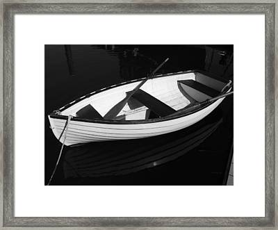A White Rowboat Framed Print by Xueling Zou