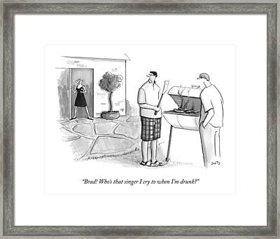 A Wife Asks Her Husband At A Barbecue Framed Print
