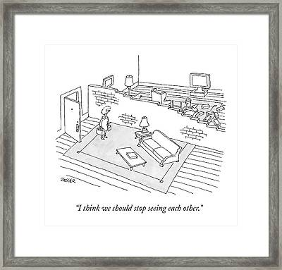 A Wife Comes Home To Find Her Husband Building Framed Print by Jack Ziegler