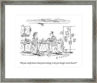 A Wife Speaks To Her Husband Framed Print by Barbara Smaller