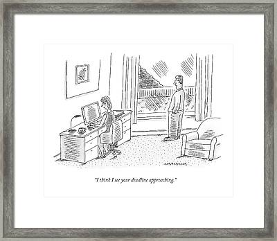 A Wife Talks To Her Writer Husband Framed Print