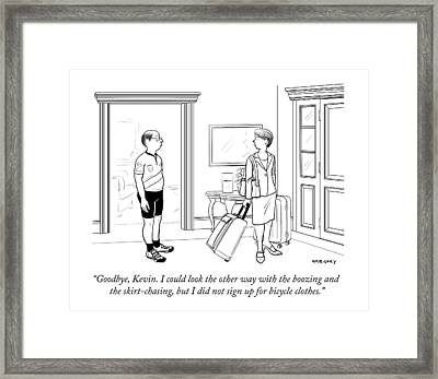 A Wife With Luggage Leaves Her Husband Framed Print
