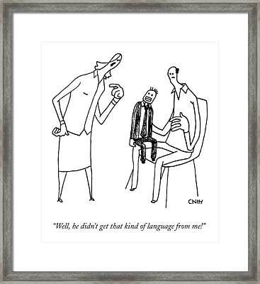 A Wife Yells At Her Ventriloquist Husband Framed Print