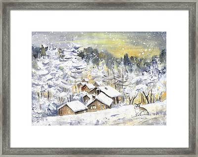 A Wild Rabbit In Snow In Germany Framed Print
