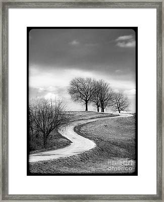 A Winding Country Road In Black And White Framed Print