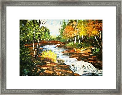 A Winding Creek In Autumn Framed Print