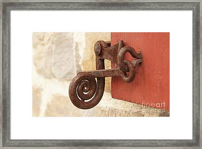 A Window Latch Framed Print by Kerri Mortenson
