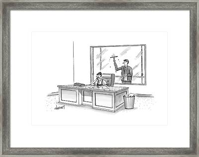 A Window Washer Is On The Phone Of An Office Framed Print