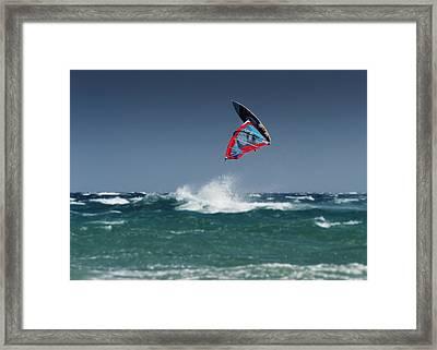 A Windsurfer Flips Upside Down Above Framed Print