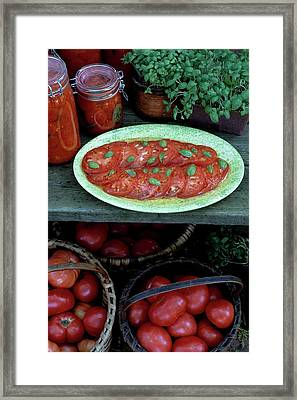 A Wine & Food Cover Of Tomatoes Framed Print