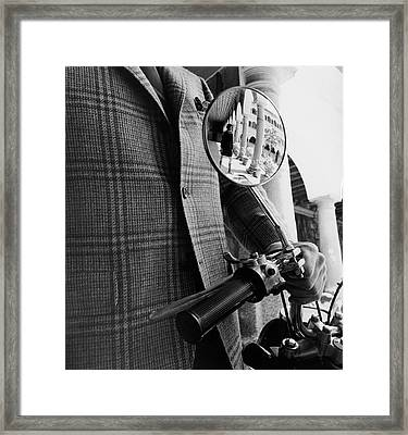 A Wing Mirror Framed Print by Leonard Nones