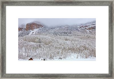 A Winter Cabin Framed Print by Darren  White