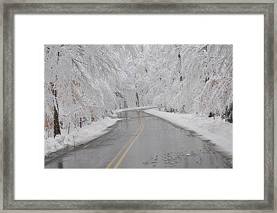 A Winter Drive In Door County. Framed Print