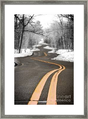 Framed Print featuring the photograph A Winter Drive Over A Winding Road by Mark David Zahn Photography