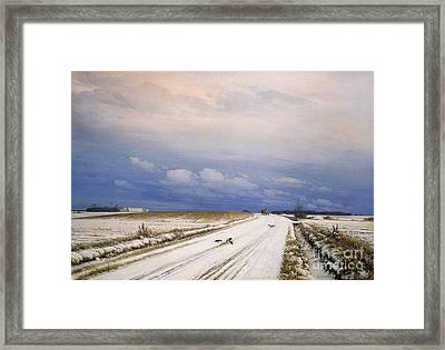 A Winter Landscape With A Horse And Cart Framed Print
