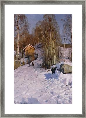 A Winter Landscape With Children Sledging Framed Print