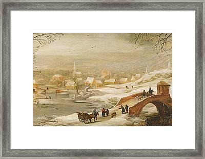 A Winter River Landscape Framed Print by Joos or Josse de, The Younger Momper