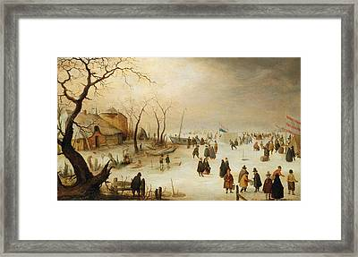 A Winter River Landscape With Figures On The Ice Framed Print