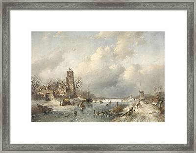 A Winter Scene, Charles Leickert Framed Print by Litz Collection