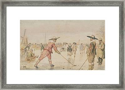 A Winter Scene With Two Gentlemen Playing Colf Hendrick Framed Print by Litz Collection