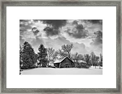 A Winter Sky - Oil Bw Framed Print by Steve Harrington