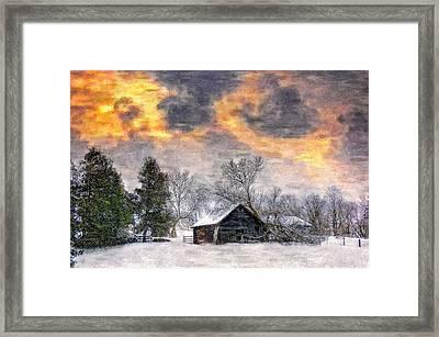 A Winter Sky Paint Version Framed Print by Steve Harrington