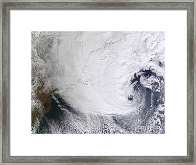 A Winter Storm Over Eastern New England Framed Print by Stocktrek Images