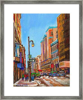 A Winter Walk Down Stanley Street Corner Rue Ste. Catherine City Scene By Carole Spandau Framed Print by Carole Spandau