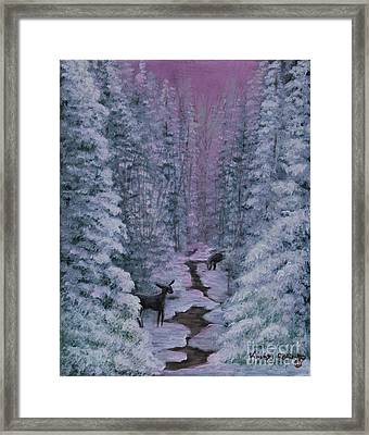 Framed Print featuring the painting A Winters Journey by Kristi Roberts