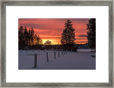 A Winters Sunset Lakehurst Nj Framed Print by Terry DeLuco