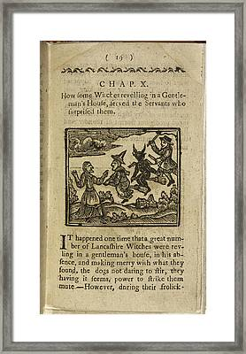 A Witch And Demon Flying On Broomsticks Framed Print by British Library