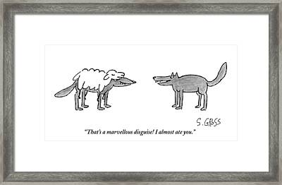 A Wolf Dressed As A Sheep Talks To Another Wolf Framed Print by Sam Gross