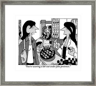 A Woman Addresses A Female Cosmetologist Wearing Framed Print