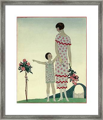 A Woman And A Little Girl Framed Print
