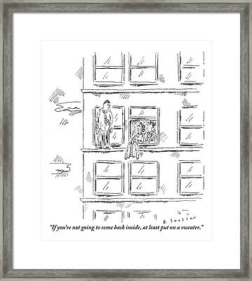 A Woman And A Policeman Look Out Of The Window Framed Print