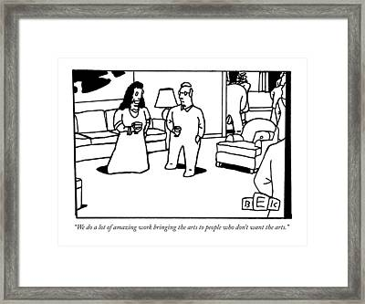 A Woman And Man Converse At An Elegant Cocktail Framed Print