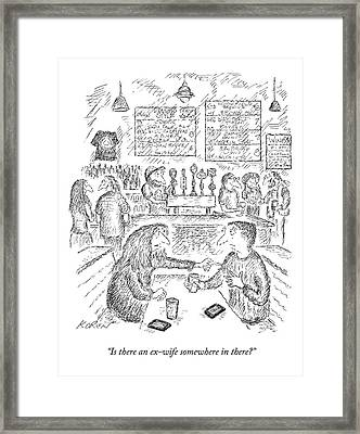 A Woman And Man Sit At A Table And The Woman Framed Print