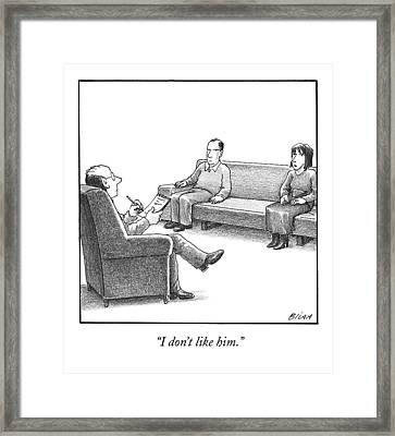 A Woman And Man Sit On A Couch At Marriage Framed Print