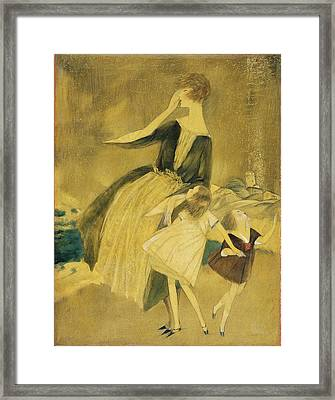 A Woman And Two Little Girls Walking Framed Print