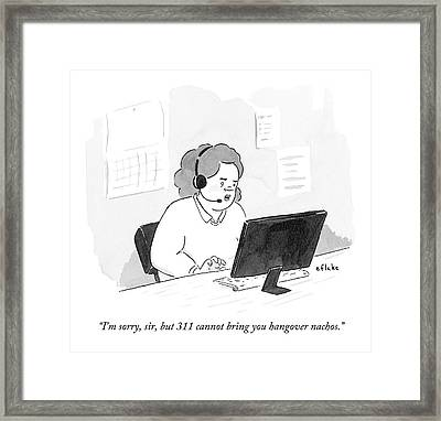 A Woman Answering Phones For 311 Denies A Request Framed Print