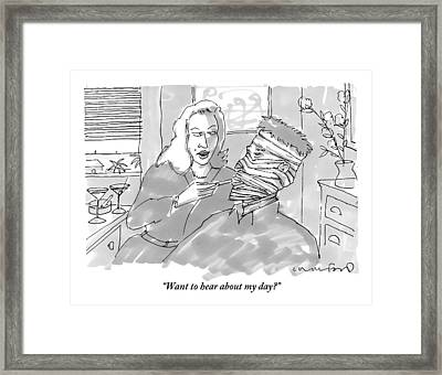 A Woman Asks A Man All Wrapped In Bandages Framed Print