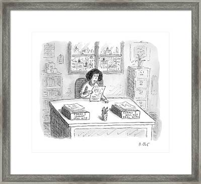 A Woman At A Desk With One Organizer That Says Framed Print