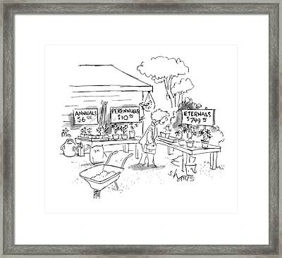 A Woman At A Plant Sale Looks At Signs Reading: Framed Print by Sidney Harris