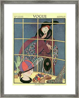 A Woman At A Shop Window Framed Print by George Wolfe Plank