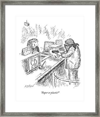 A Woman Behind A Bank Register Speaks To A Man Framed Print