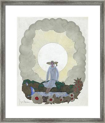 A Woman By A River Framed Print