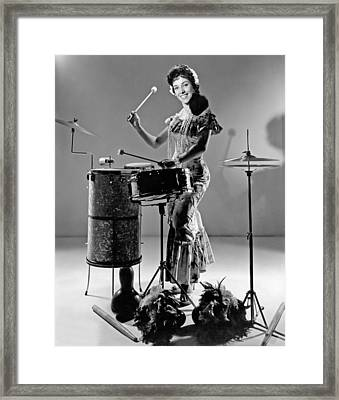 A Woman Calypso Percussionist Framed Print by Underwood Archives